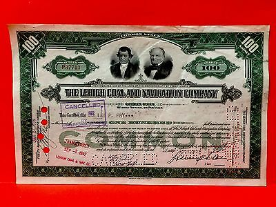 THE LEHIGH COAL AND NAVIGATION COMPANY...1940s STOCK CERTIFICATE ~ EXCEL COND!