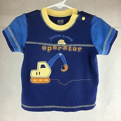 Carters Tee T Shirt 18 Month Boys Construction Blue Yellow Short Sleeve Everyday