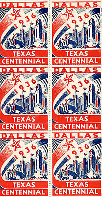 Vintage Poster Stamp Label mini-sheet DALLAS 1936 TEXAS CENTENNIAL Worlds Fair