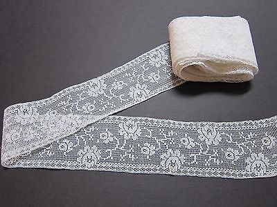 """Vintage/Antique White French Filet Lace Trim~ROSES~6 Yards long by 2 1/4"""" Wide"""