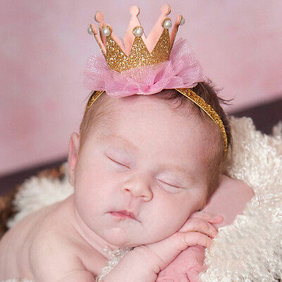 Kids Girl Baby Toddler Shiny Crown Headband Princess Hair Clip Lace Hair Band FO