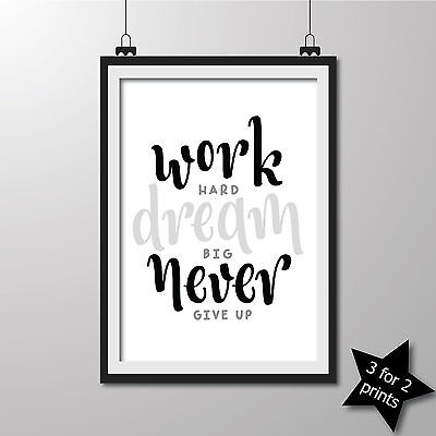 Inspirational QUOTE poster ART Print Typography wall decor gift ~ Work ..