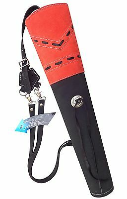 New Traditional Fine Black Sued Leather Back Arrow Quiver Archery Product Aq163R