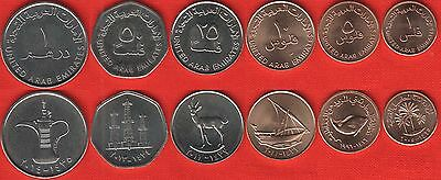 United Arab Emirates (UAE) set of 6 coins: 1 fils - 1 dirham 1973-2014 UNC