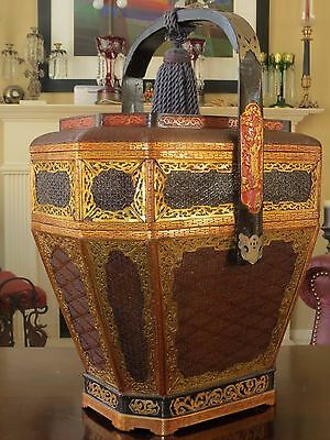 Vintage 2 Tier Chinese Wedding Basket Ornate Lacquer & Split Bamboo w/ Gold Gilt