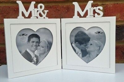 """Wedding Photo Frame White Heart Double Shabby Chic Fits 5""""x 5"""" Picture Gift New"""