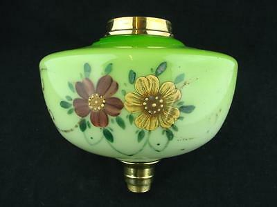 Lime Green Glass Oil Lamp Font, Floral Decoration, Brass Ring And Undermount