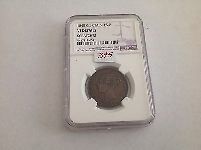 1845 Great Britain Half Penny NGC VF Details Scratches