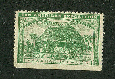 Vintage Poster Stamp PAN AMERICAN EXPOSITION Buffalo 1901 HAWAIIAN ISLANDS grn