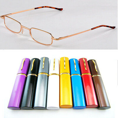 Colors Reading Glasses Pen holder Metal +1.5+2.0+2.5+3.0+3.5+4.0 With Tube Case