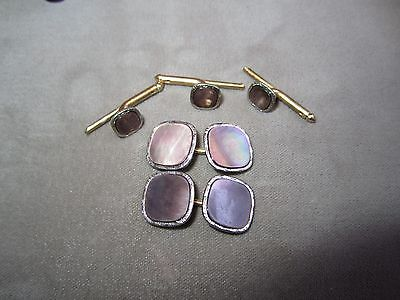 VINTAGE SOLID 10K YELLOW GOLD & ABALONE CUFFLINKS & SHIRT STUDS SET TuXeDo