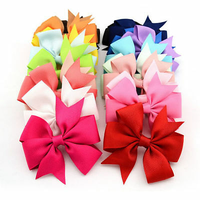 Large 8 Inch Bow qty 12 Back to School Girls hair bow Clips accessories joblot