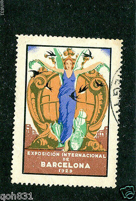 Vintage Poster Stamp EXPOSICION INTERNATIONAL BARCELONA 1929 perfed woman blue