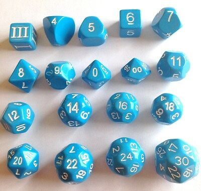 18 Unusual RPG Dice - D3 to D30 - Blue, Dungeon Crawl Classics RPG
