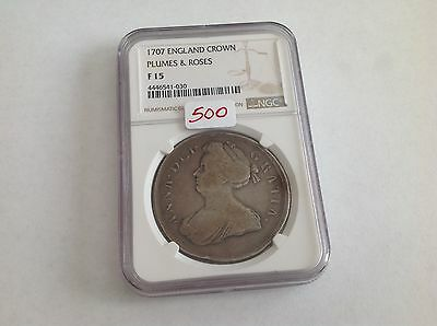 1707 England Crown Plumes & Roses NGC F 15