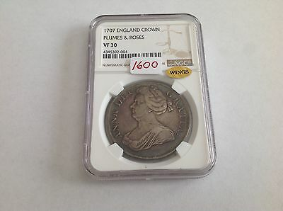 1707 England Crown Plumes & Roses NGC VF 30