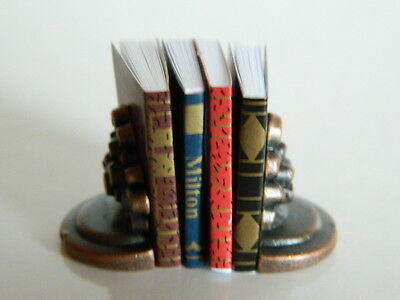 (M22) Dolls House Books With Book Ends
