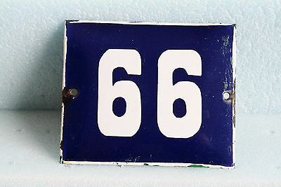 Antique French BLUE ENAMEL PORCELAIN SIGN PLATE HOUSE STREET DOOR NUMBER 66 / 99