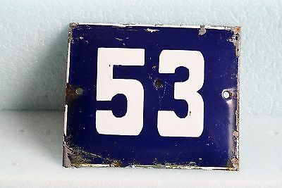Antique French BLUE ENAMEL PORCELAIN SIGN PLATE HOUSE STREET DOOR NUMBER 53