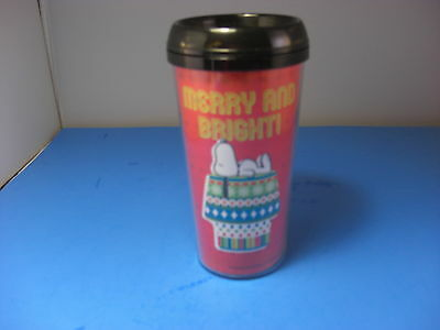 Peanuts Snoopy Tumbler Travel Cup W Lid 16oz Christmas Merry And Bright Red NWT