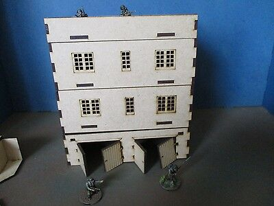 28mm Town Houses 2 Integrated  garages Flat Roof Removable levels Laser Cut