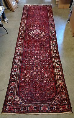 Antique Persian Hamadan Hand Knotted Runner w All Around Intricate Floral Design