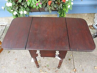 Antique Mahogany Sheraton Two Drawer, Drop-leaf Stand