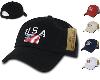 Relaxed USA Flag American Team Patriotic Washed Cotton Baseball Dad Cap Hat