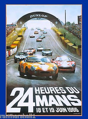 1966 24 Hours Le Mans French Automobile Race Advertisement Vintage Poster 3