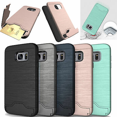 Shockproof Hybrid Stand Card Holder Hard Case Cover For Samsung S7 Edge/S8 Plus