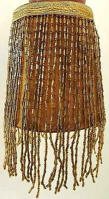 Antique Victorian Vintage Candelabra Bulb Lamp Shade glass Beaded  Fringe Yellow