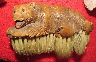 Vintage Wooden Bear Brush Old Black Forest ?  Early Statue Antique Collector