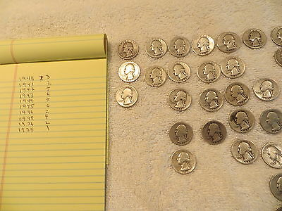 lot of (33) washington silver quarters. 40s,30s  Nice Condition