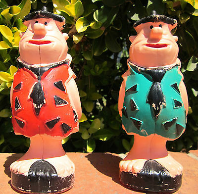 2 VINTAGE FRED FLINTSTONE CHOCOLATE CONTAINERS Plastic Hanna-Barbera 60s Gruyter