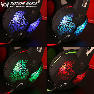 EACH G1000 PC Gaming Bass Stereo Headset Microphone LED Laptop Computer lot AU