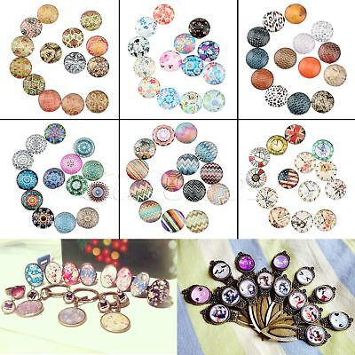 10/50pcs 12mm 26 Patterns Round Glass Cabochon DIY Crafts Jewelry Fashionable