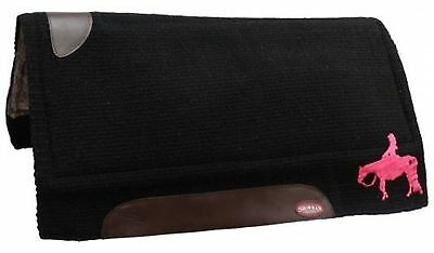 """Showman BLACK 34"""" x 34"""" Wool Top Saddle Pad W/ PINK Embroidered Pleasure Horse!"""