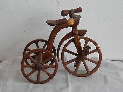 Hand Carved And Assembled Wooden Tricycle  (245)