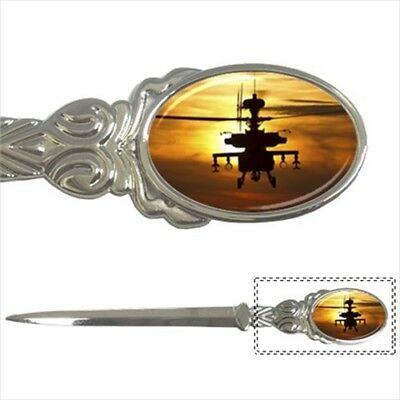 AH-64D Apache Long Bow Helicopter Chrome Paper Knife - Letter Opener