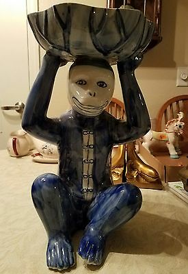 "CHINESE Blue White Porcelain Monkey Sit Holding  Basket on His Head and 14"" x 9"""