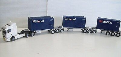 Ho Triple B Double With  Containers & Scania Prime Mover Ideal For The Ho Layout