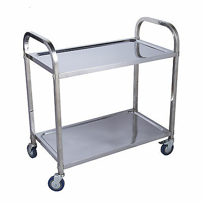 Stainless Steel Kitchen Catering Cart | 2 Tier | 85 x 45 x 90CM | Dining Utility