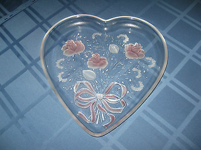 "13"" Vintage Mikasa Sweetheart Rose Bouquet Heart Shaped Glass Platter EUC"