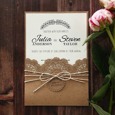Wedding Invitation - Country Lace Pocket / PWI115086 / Sample Only