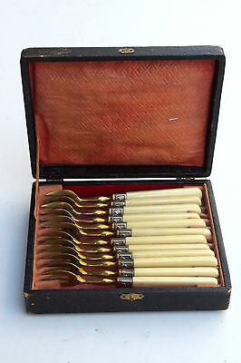 Antique Set of 12 Dessert Cheese Oyster Snail Forks with Original Box