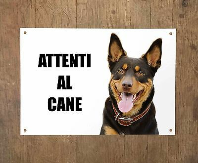 AUSTRALIAN KELPIE DOG attenti al cane TARGA cartello IN METALLO 30x20