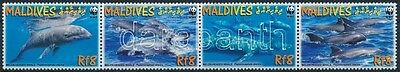 Maldives stamp WWF Dolphin set stripe of 4 + 4 FDC MNH Cover 2009 WS223214