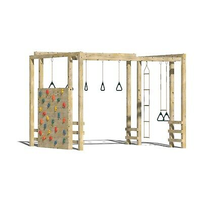 SQUARE HUGE OUTDOOR QUALITY WOODEN CLIMBING FRAME Monkey Bars Swings, Rock wall