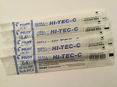 PILOT HI-TEC-C GEL PEN REFILL 0.4mm (5 blue)