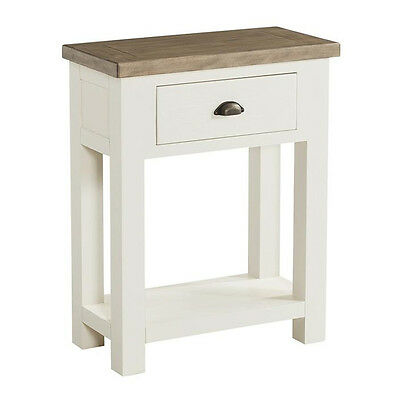 St Ives Painted Small Hall Table / Linen White Console / Solid Ash Top / Drawers